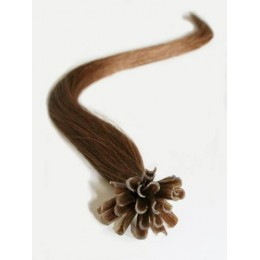 "16"" (40cm) Nail tip / U tip human hair pre bonded extensions – medium light brown"